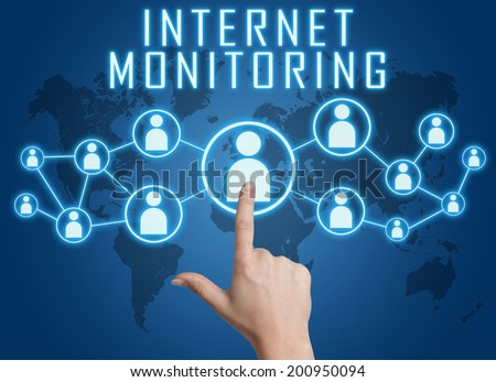 Internet Monitoring concept with hand pressing social icons on blue world map background. - stock photo