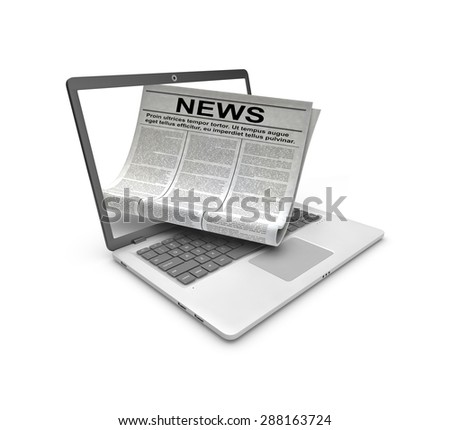 Internet news. Laptop and newspaper on white background.