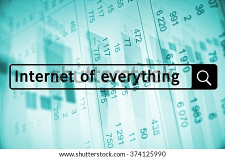 Internet of everything written in search bar with financial data visible in the background. - stock photo