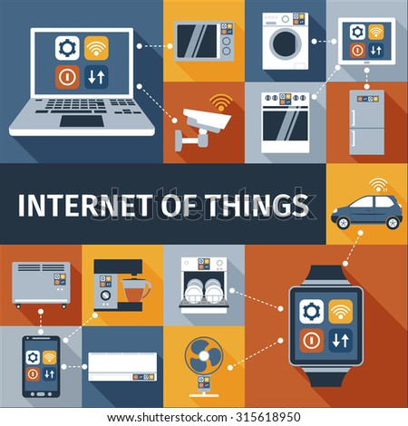Internet of things computer and smart watch  remote control flat icons composition poster abstract isolated  illustration - stock photo