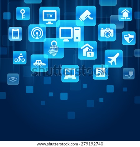 Internet of things concept - blue buttons with IOT and internet icon - stock photo