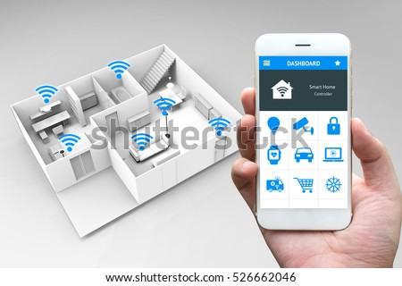 internet things iot smart home network stock photo 526662046 shutterstock. Black Bedroom Furniture Sets. Home Design Ideas