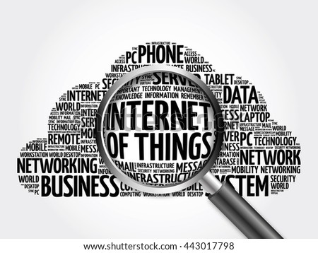 Internet of Things (IOT) word cloud with magnifying glass, business concept 3D illustration - stock photo