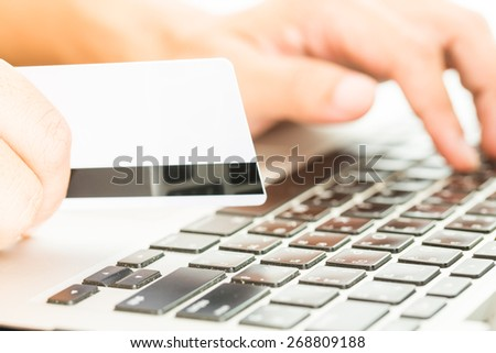 Internet of things, pay online, buy online, shopping online. Using computer on making business online.  - stock photo