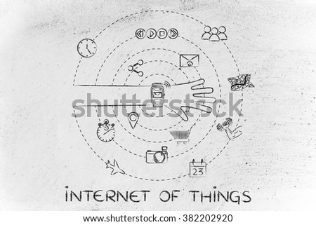 internet of things: smartwatch user with functions and apps spinning around his wrist - stock photo