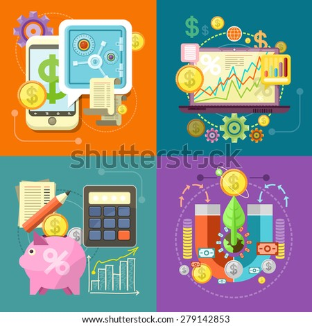 Internet online banking. Accumulation of finances magnet attracting golden coins. Accounting with digitial caculator. Financial diagram on a laptop monitor. News from finance market. Raster version