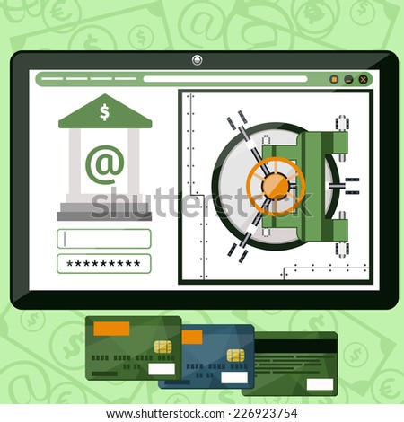 Internet online banking. Plate with site of bank where enter a password to login to profile at bank flat design style. Raster version - stock photo