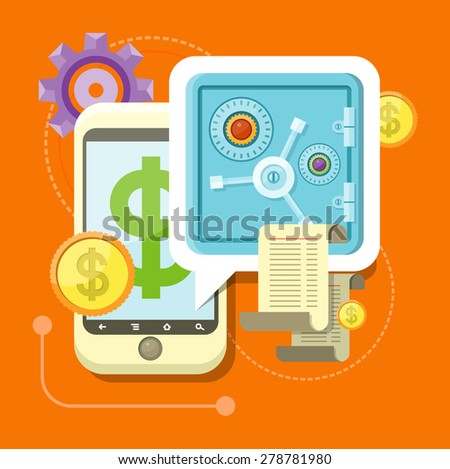 Internet online banking. Smartphone with sign of dollar and safe where enter a password to login to profile at bank flat design style. Money exchange m banking. Raster version - stock photo