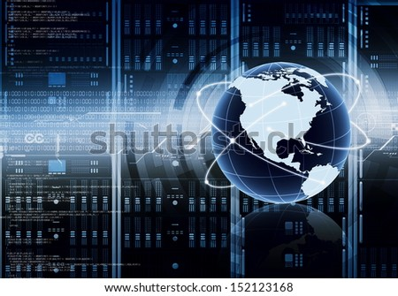 Internet or Information technology conceptual image. With a globe placed in front of computer server cabinets - stock photo