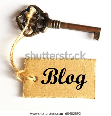 internet or web blog concept with old grunge key - stock photo