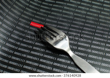 Internet password security concept hacker taking the word password using binary code background.