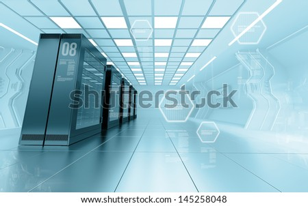 internet provider server room in futuristic interior of data center - stock photo