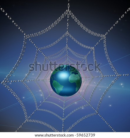 Internet represented by web of binary - stock photo