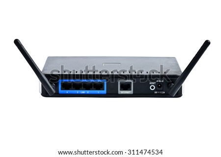 Internet router modem wireless wifi isolated - stock photo