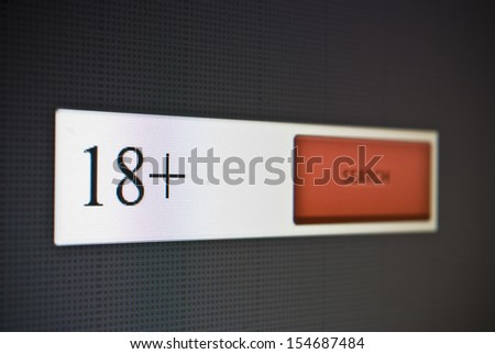 Internet search bar with phrase 18+