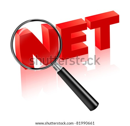 internet search, browse the net,find information, online. Red text with magnifying glass searching web pages. Info button.
