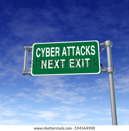 Internet security and cyber attacks as a technology concept of data protection and computer network safety warning with a green highway sign on a sky background.