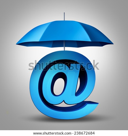 Internet security and email protection technology concept as a blue umbrella providing safety to a three dimensional ampersand web symbol and website icon. - stock photo