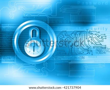 Internet security. Closed pad lock on digital background  - stock photo