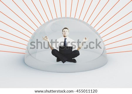 Internet security concept. Businessman with laptop meditating under shield attacked by red laser rays on light background. 3D Rendering - stock photo