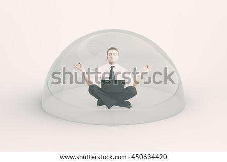 Internet security concept. Businessman with laptop meditating under shield on light background. 3D Rendering - stock photo