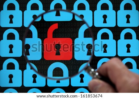 Internet security concept open red padlock virus or threat of hacking - stock photo