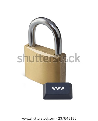 internet security concept with padlock and computer key on white background - stock photo