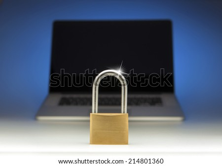 Internet security lock on a laptop computer monitor - stock photo