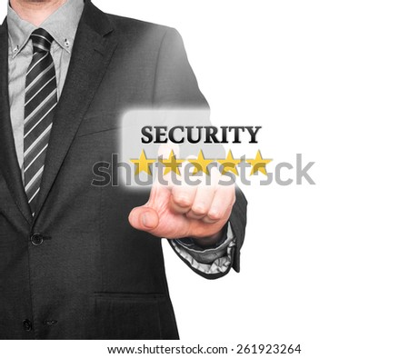 Internet security online business concept businessman pointing five stars security  services. Isolated on white background. Stock Photo   - stock photo