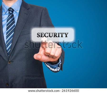 Internet security online business concept businessman pointing security services. Isolated on blue background. Stock Photo - stock photo