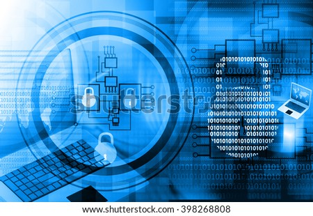 Internet security. Pad lock on digital tech background - stock photo