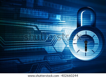 Internet security. Pad lock on digital tech background