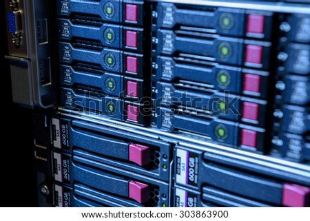 Internet server in datacenter close-up view - stock photo
