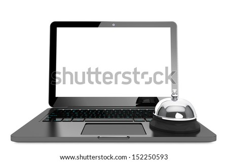 Internet Service Concept. Moder Laptop with Service Bell on a white background