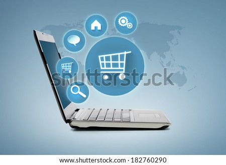 internet shopping and technology concept - laptop computer with menu on virtual screen - stock photo