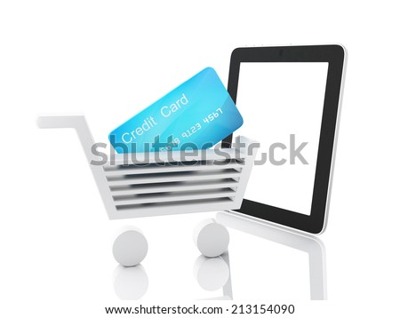internet shopping concept. Shopping cart and tablet