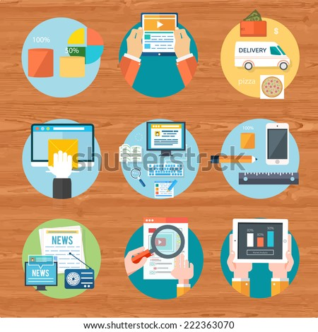 Internet shopping process of purchasing and delivery. Business online sale icons. Poster concept with icons of buying product via online shop and e-commerce ideas symbol and shopping. Raster version - stock photo