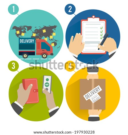 Internet shopping process of purchasing and delivery. Raster version - stock photo