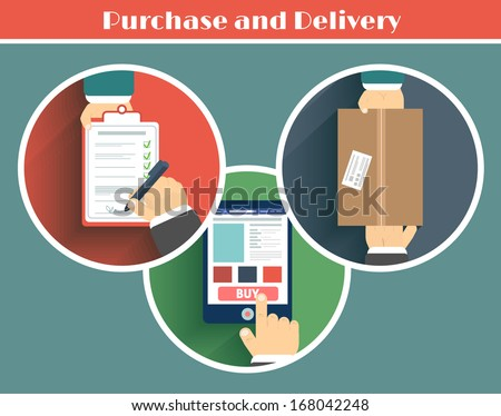 Internet shopping process of purchasing. Raster copy - stock photo