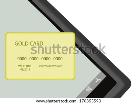 Internet shopping with tablet pc, gold color credit card. Mobile payment concept. Shopping cart, search icon on touch screen. Isolated on white background. Room for text, copyspace. Horizontal photo.