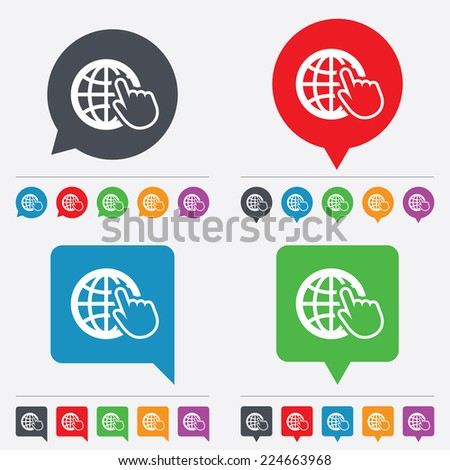 Internet sign icon. World wide web symbol. Cursor pointer. Speech bubbles information icons. 24 colored buttons. - stock photo
