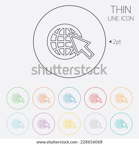 Internet sign icon. World wide web symbol. Cursor pointer. Thin line circle web icons with outline. - stock photo