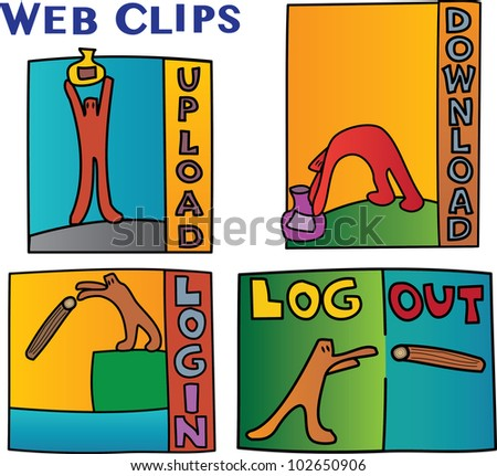 Internet signs and symbols featuring cartoon characters acting out web related words and concepts - set of 4 - upload, download, log in, log out