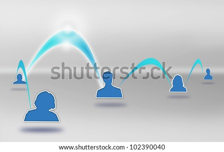 Internet Social Network Drawing. An Online Media Community Illustration on gray background. - stock photo