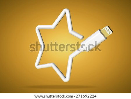 Internet star rating icon made from computer cable - stock photo