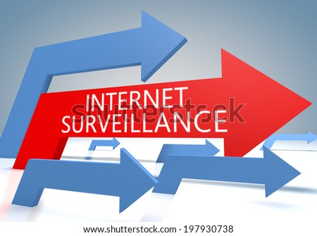 Internet Surveillance 3d render concept with blue and red arrows on a bluegrey background. - stock photo