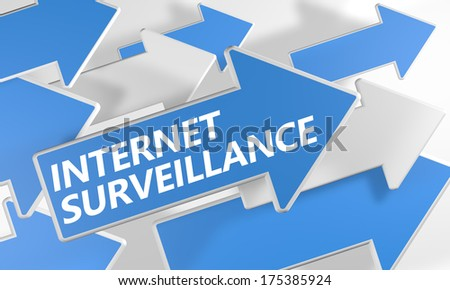 Internet surveillance 3d render concept with blue and white arrows flying over a white background. - stock photo