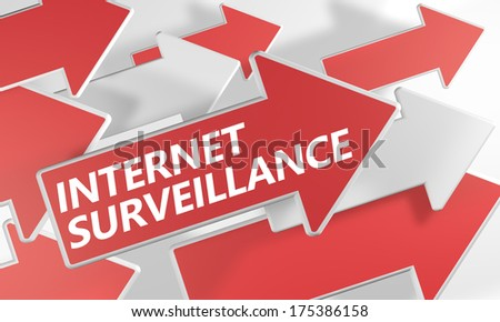 Internet surveillance 3d render concept with red and white arrows flying over a white background. - stock photo