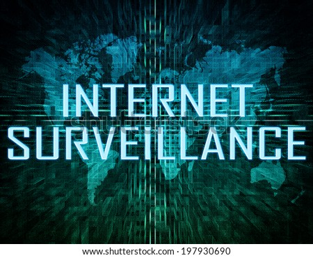 Internet Surveillance text concept on green digital world map background  - stock photo
