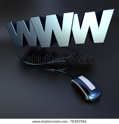 Internet symbol www connected to a mouse in blue metal texture